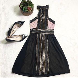 Pretty VENUS Black Pink Lace Halter Top Dress XS
